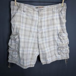 Lee Dungarees Shorts Size 42 Tan Mens Plaid Cotton